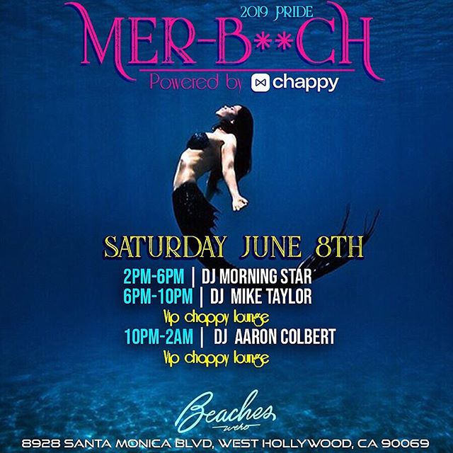 Catch the MER-BAES for a SPECIAL #LApride Weekend Long Event MER-B**CH at #BeachesWeho 🧜‍♂️🏳️‍🌈🧜‍♂️ Powered by @chappyapp