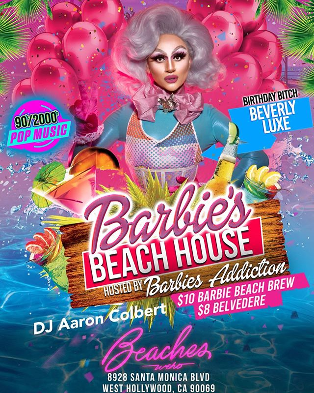 TOMMOROW we celebrate Beach Doll @beverlyluxe birthday at BARBIE'S BEACH HOUSE with 90s/2000s beats by @aaroncolbert , guest doll @kyrajete and main doll herself @barbiesaddiction 💃🕺 Come dance, eat, drink and play with Barbie and her dolls! | $10 Barbie Beach Brew & $8 Belvedere