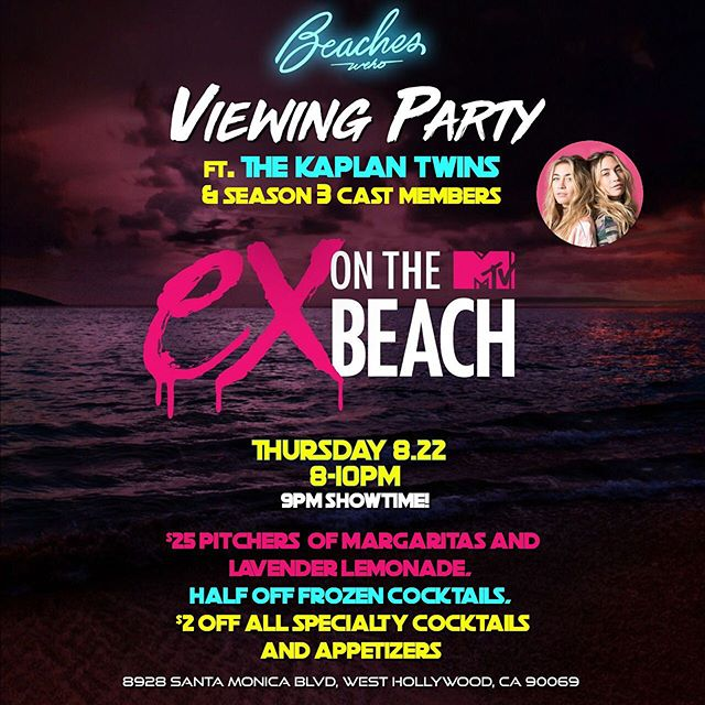 Come join us BEACHES for an @exonthebeach viewing party hosted by @the_kaplan_twins this THURSDAY starting at 8pm, 9pm showtime. 👯♀️ Enjoy $25 pitchers of Margs and Lavender Lemonade, 1/2 off Frozen Cocktails and $2 off all Specialty Cocktails & Appetizers! 🍻 #BeachesOnly #exonthebeach #BeachesWeho
