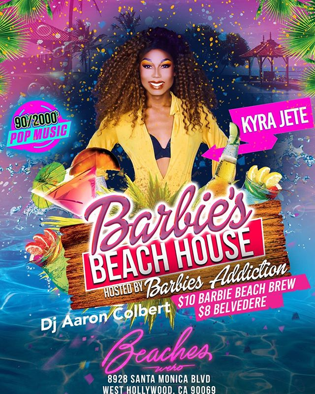 TONIGHT we celebrate Beach Doll @beverlyluxe birthday at BARBIE'S BEACH HOUSE with 90s/2000s beats by @aaroncolbert , guest doll @kyrajete and main doll herself @barbiesaddiction 💃🕺 Come dance, eat, drink and play with Barbie and her dolls! | $10 Barbie Beach Brew & $8 Belvedere