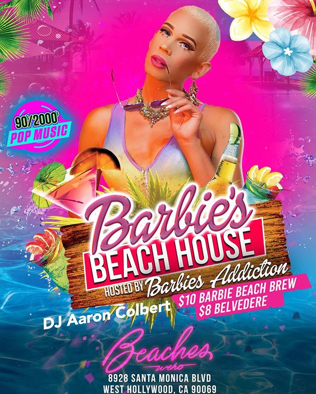 RIGHT NOW at #BeachesWeho we are celebrating Beach Doll @beverlyluxe birthday at BARBIE'S BEACH HOUSE with 90s/2000s beats by @aaroncolbert , guest doll @kyrajete and the main doll herself @barbiesaddiction 💃🕺 Come dance, eat, drink and play with Barbie and her dolls! | $10 Barbie Beach Brew & $8 Belvedere 🍹💋