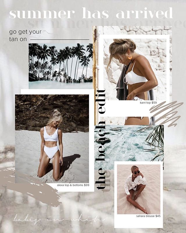 THE BEACH EDIT✨⠀ Unfortunately summer hasn't arrived yet... but I can't wait for bikini season so I was inspired to create a bikini promo for a magazine or email blast! I had a lot of fun creating this since I'm obsessed with these color tones and of course the beach. 💞⠀