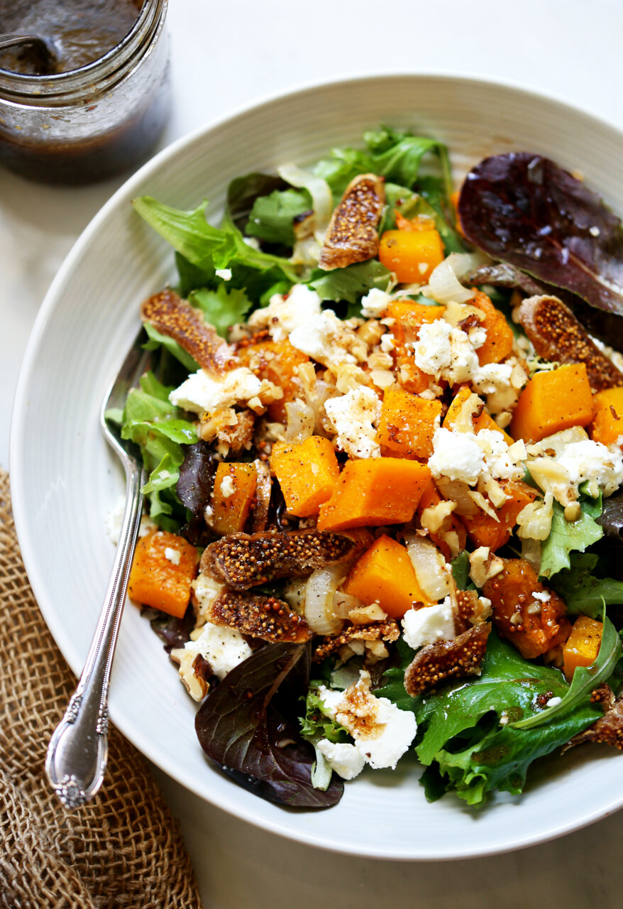 Squash, Fig, & Goat Cheese Salad with Maple Balsamic Dressing