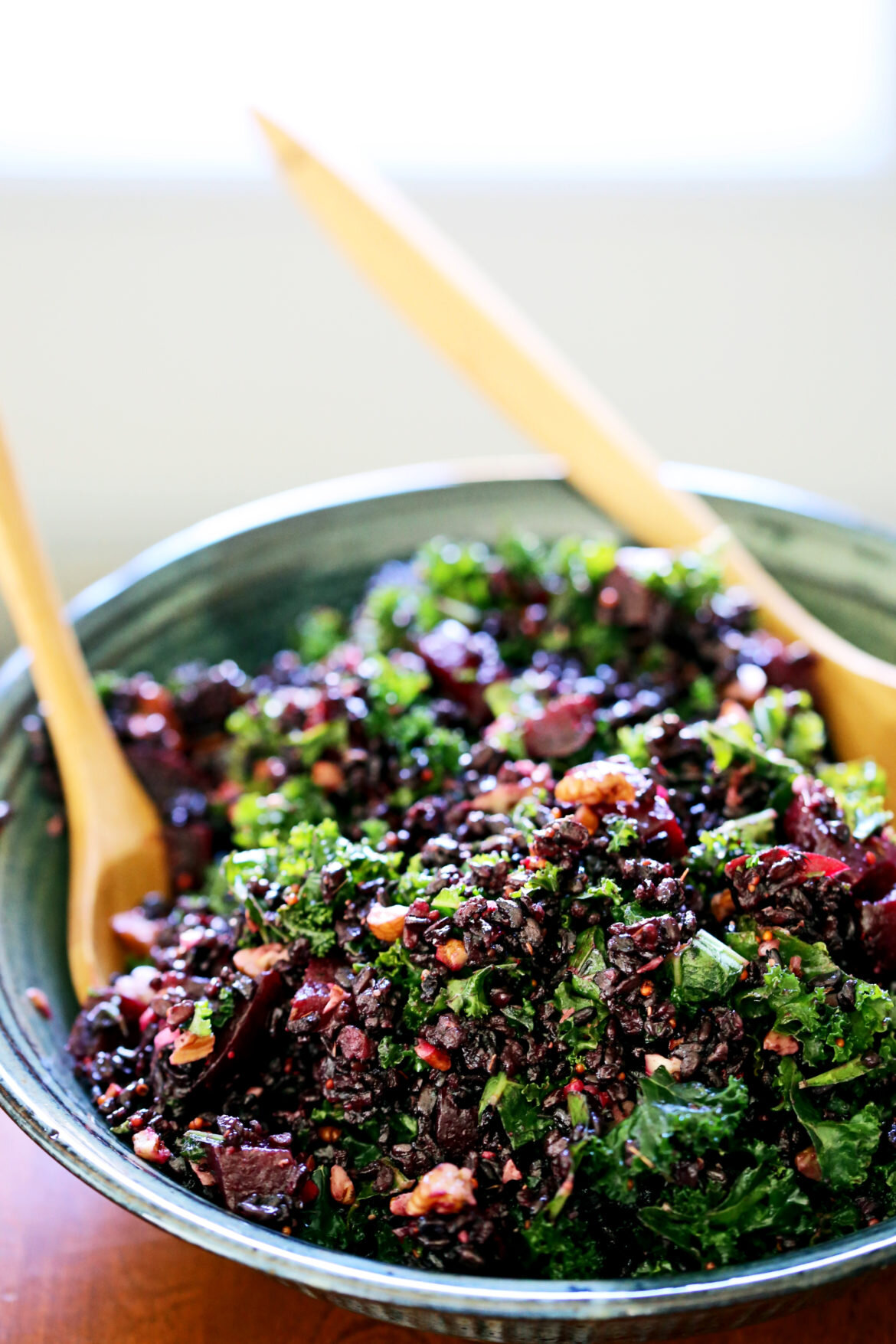Black Rice, Beet, & Kale Salad with Cider-Flaxseed Oil Dressing Recipe