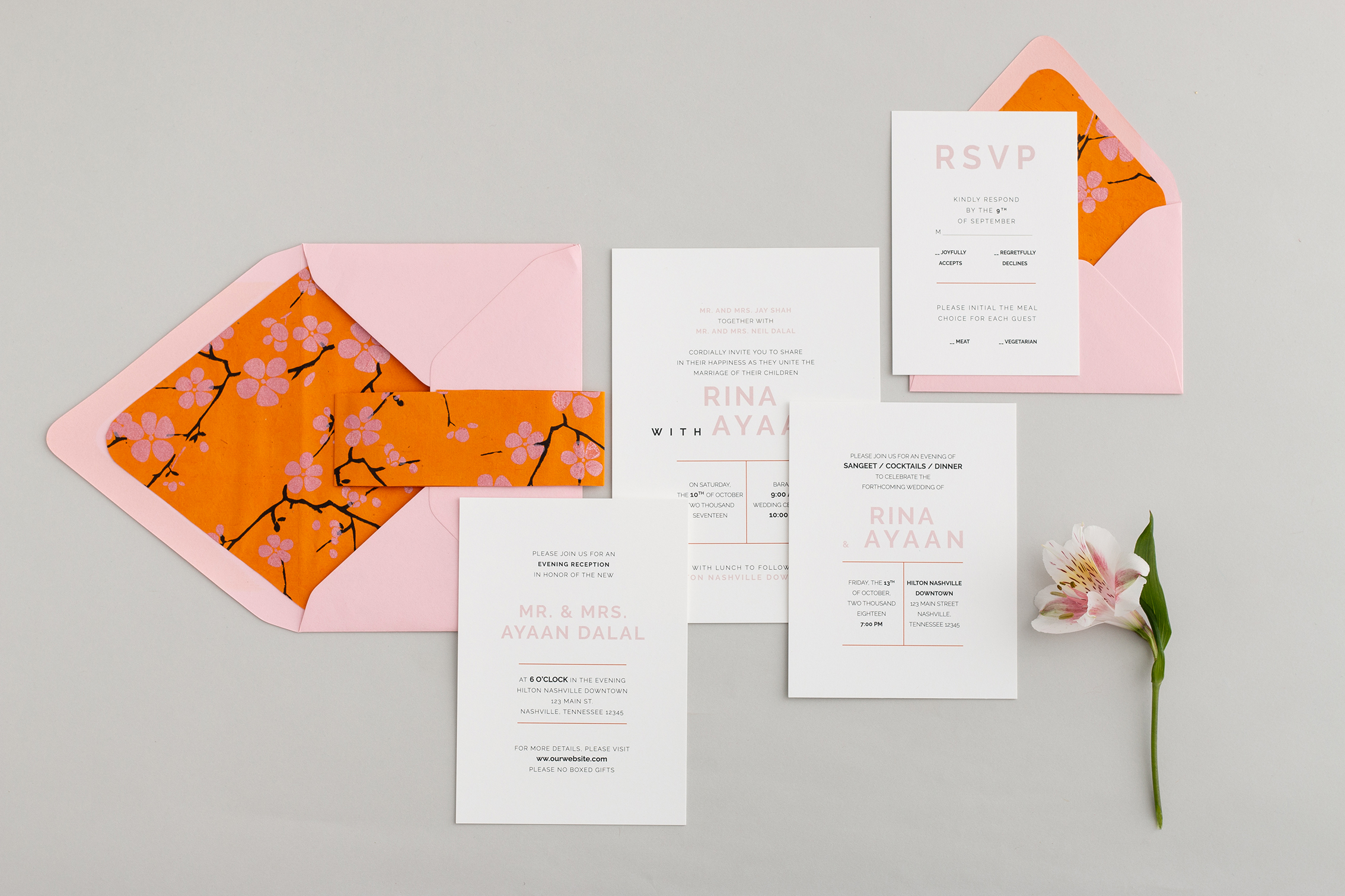 Lotus Collection - Simple, elegant, and bold, the Lotus Collection offers a variety of minimalist designs for the modern bride. Clean lines with pops of color, these invitations reflect your contemporary style in a timeless fashion.