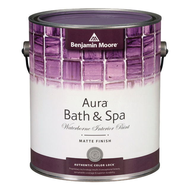 Aura® Bath & Spa Waterborne Interior Paint - With a beautiful matte finish, Aura Bath & Spa is a premium-quality interior paint specially formulated to resist mildew growth in humid areas such as bathrooms and spas.