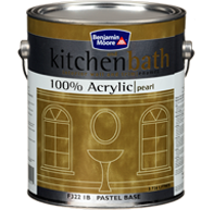 Benjamin Moore Kitchen And Bath Paint - Kitchen & Bath is a top quality, 100% acrylic satin finish enamel designed for use in kitchens and bathrooms. It is ideal for use over clean, gloss surfaces, and resists the growth of mildew even under humid conditions.