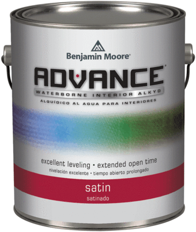 Benjamin Moore Collection® ADVANCE Interior Paint - ADVANCE offers the application and performance of traditional oil paint in a waterborne formula that cleans up with soap and water. It is a 100% alkyd formula water-dispersible alkyd developed with proprietary new resins that keep VOCs low even after tinting. It flows and levels like a traditional alkyd with the extended open-time required to achieve high-end finishes. ADVANCE is available in unlimited colours, giving you more ways than ever to achieve the perfect look on every job.