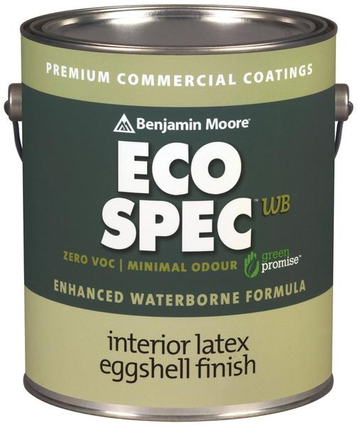 Benjamin Moore Eco Spec WB Paint - A low odor, zero VOC (Volatile Organic Compounds), 100% acrylic interior latex eggshell finish that is high hiding has excellent touch up and a uniform eggshell finish. Eco Spec® WB Interior Latex Eggshell Finish is ideally suited for commercial, facility management and residential applications.