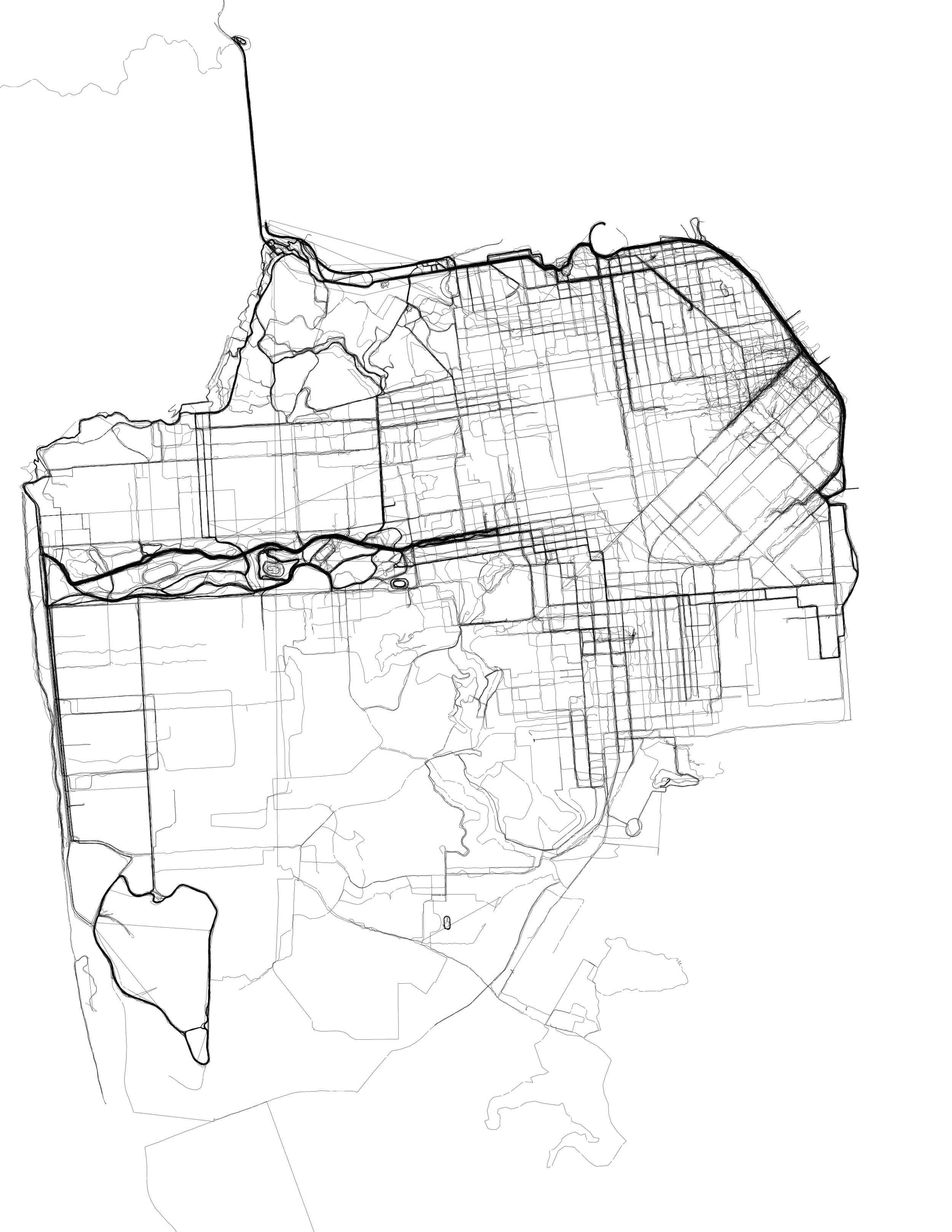 A visualization of San Francisco created from data of running paths. Created by  Eric Fischer ,  CC-BY 2.0 .