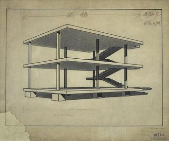 Charles-Édouard Jeanneret  (Le Corbusier), 1914-15,  Maison Dom-Ino (   Dom-Ino House   ) , drawing