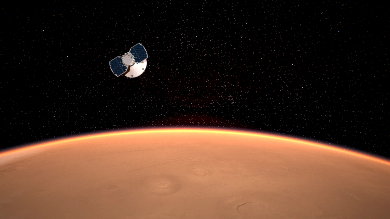 An artist's concept of the InSight spacecraft approaching Mars. Image: NASA/JPL-Caltech.