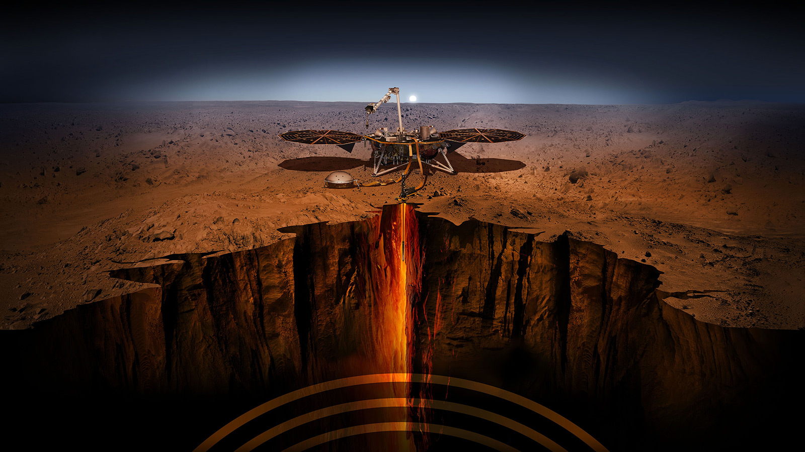 An artist's illustration of the InSight lander on Mars. Image Credit: NASA/JPL-Caltech