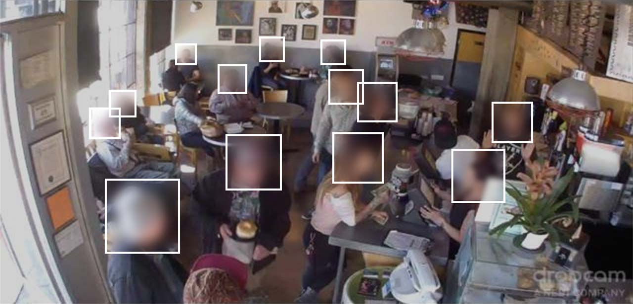 A frame from the live video stream taken from Brainwash, a San Francisco laundromat, which was used to  help train Chinese military AI  to better recognize individuals in crowds.
