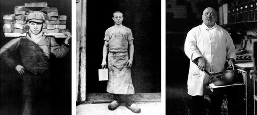 Photographs by August Sander. From left to right: Bricklayer's Mate, Cologne, 1929; Varnisher, Cologne, 1932; Pastry Cook, Cologne, 1928. Courtesy of Photograph. Samml./ SK Stiftung Kultur-A. Sander Archiv, Köln; VG Bild-Kunst, Bonn, 2015.