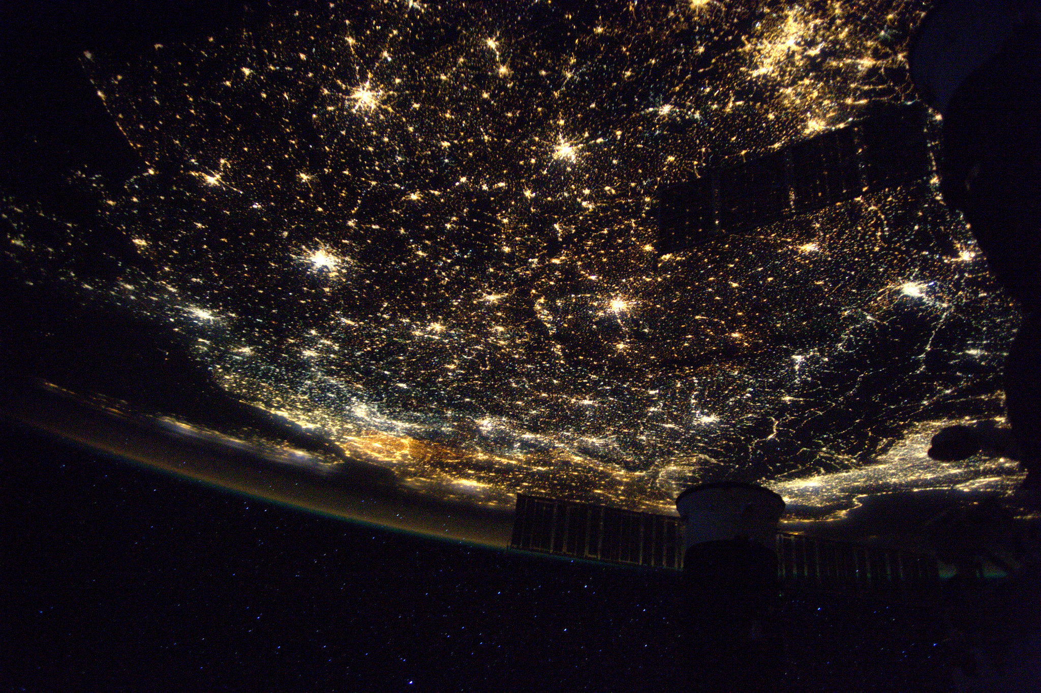 Europe seen at night, captured by a passing Satellite. ( PHOTO NASA/ESA )