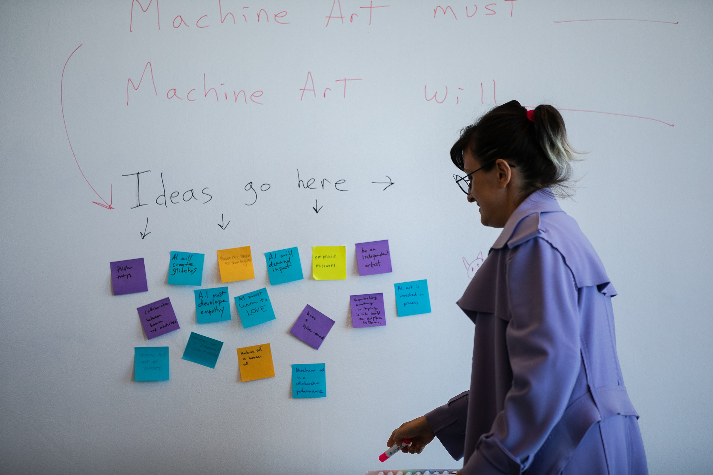 "Dr. Pinar Yoldas at the ""Machine, Myself & I"" symposium on AI, Computer Vision, and Art, held at swissnex San Francisco on July 12, 2019. PHOTO MYLEEN HOLLERO / SWISSNEX SF."