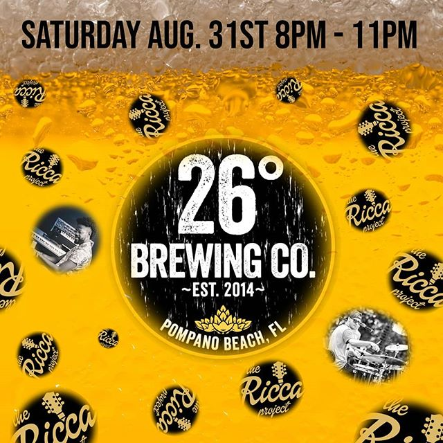 Hey my Fort Lauderdale people!!! Come through @26brewing this satyrday!!! #jazz #fusion #funk #soflo #musician #goodvibes #vibes #livemusic #musicians #fortlauderdale #brewery #localbrew #brewlocal #rock #jams #beer #ipa #foodtrucks