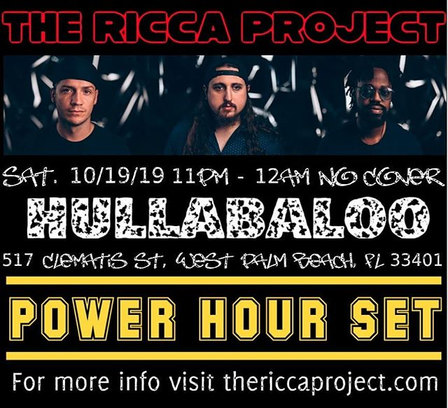 West Palm!!! Come cath us at @hullabaloowpb for a power hour set!!! #livemusic #westpalmbeach #goodvibes #jazz #funk #rock #fusion #clematis #originalmusic #soflo #soflomusic