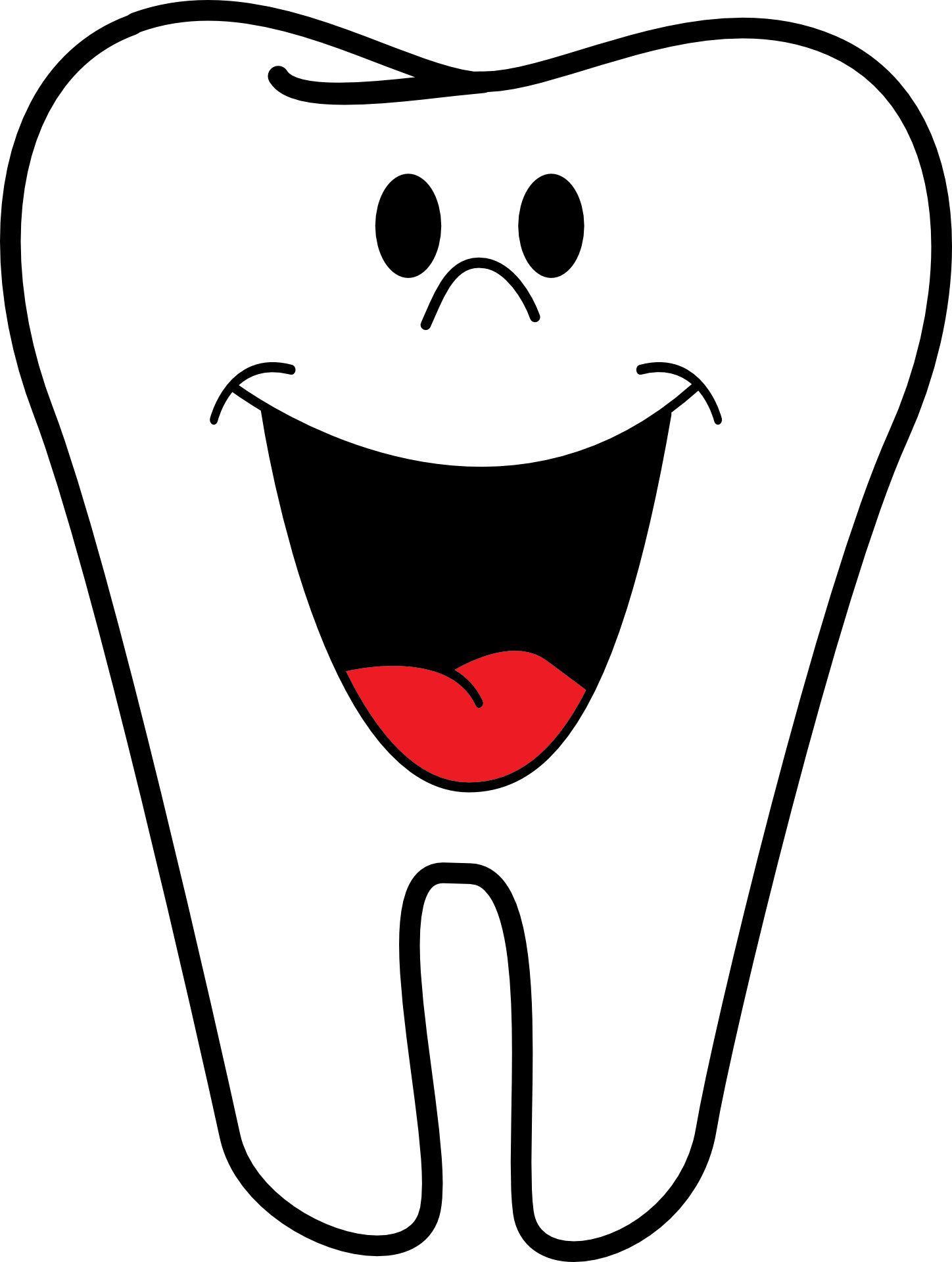 A cartoon tooth smiling.