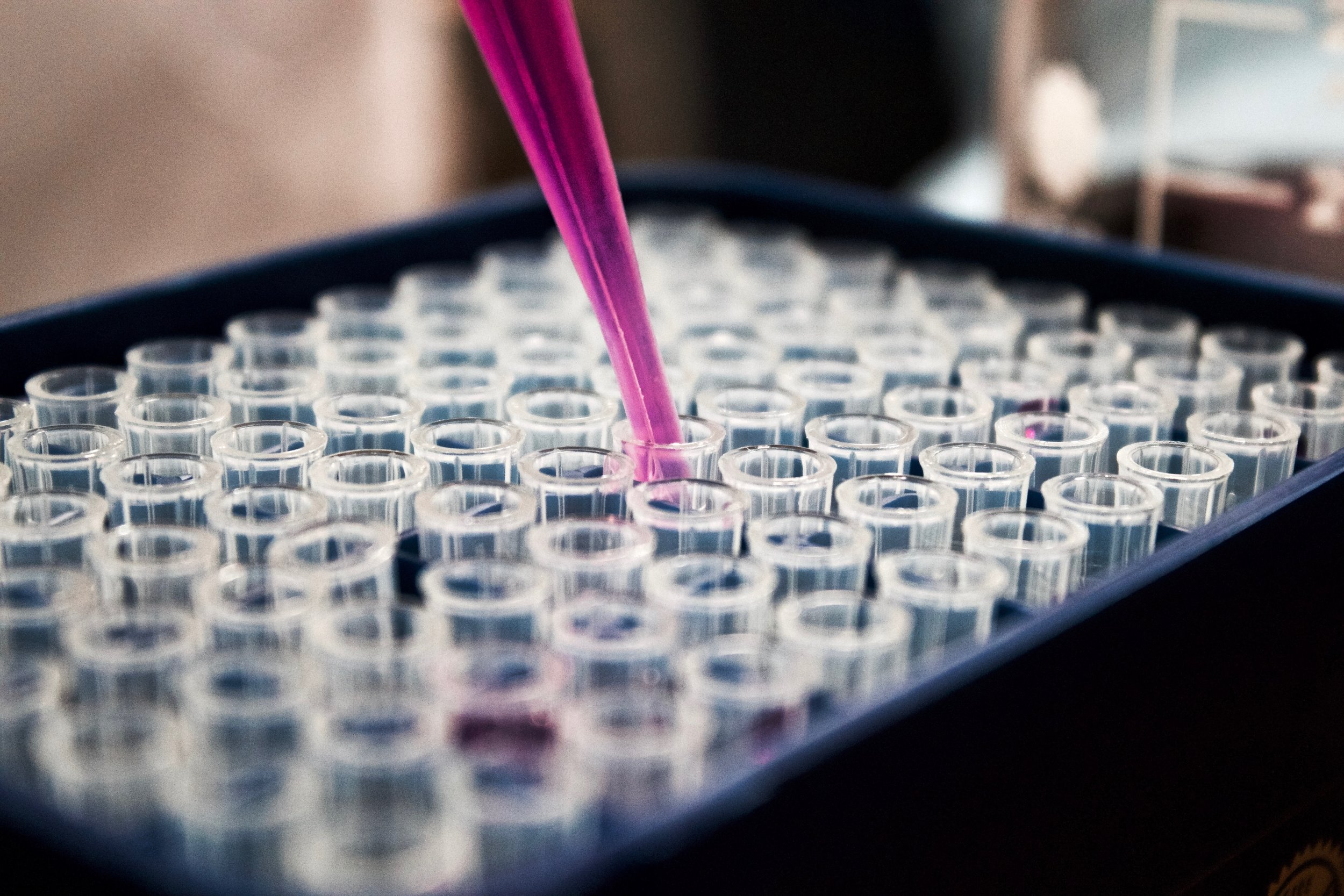Clear vials being filled with a pink liquid.