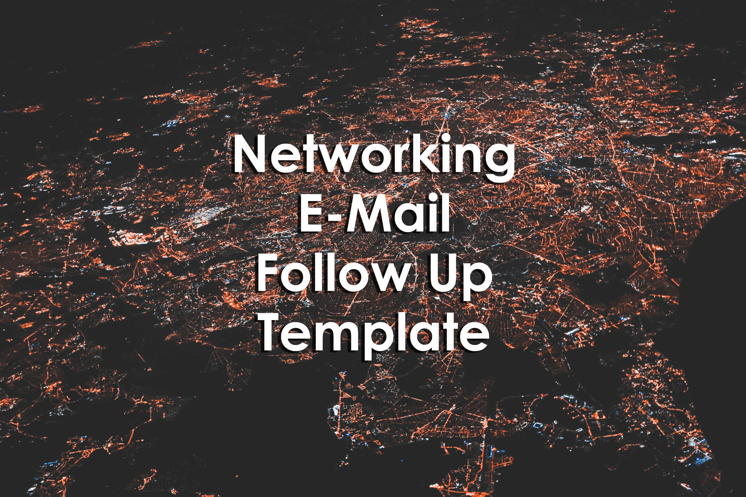 Student Affairs Networking E-Mail Follow Up Template