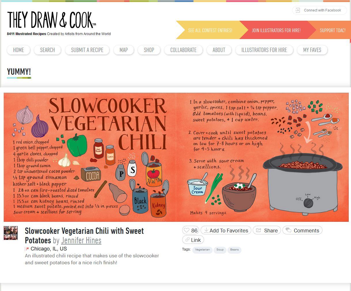 Screenshot of the They Draw and Cook website with live recipe in their collection.