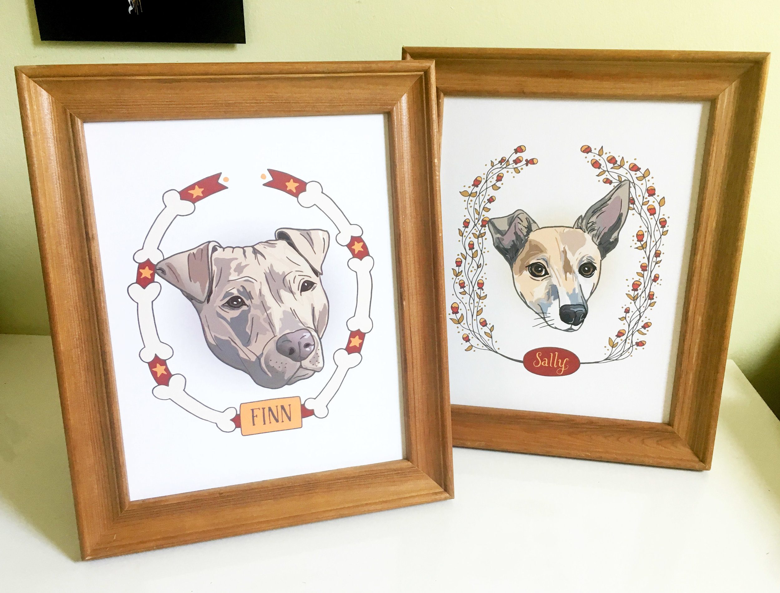 Final printed pieces in frames.