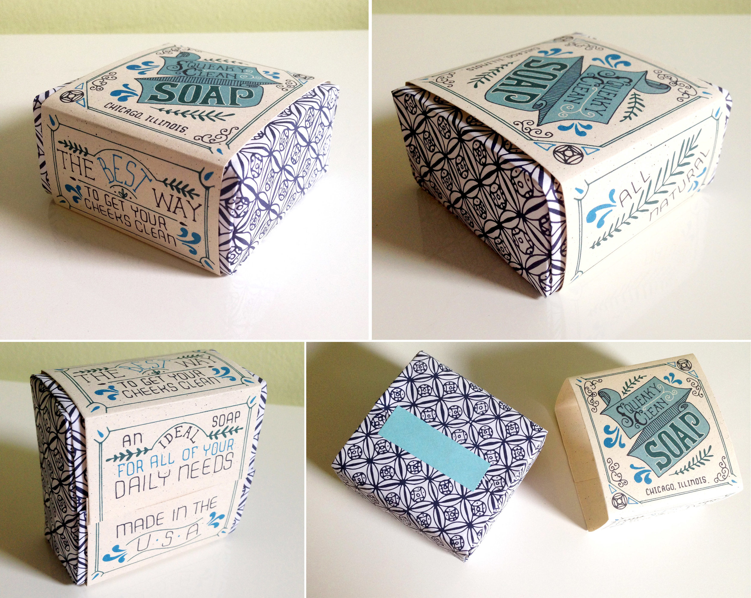 Various photos of finished soap packaging.