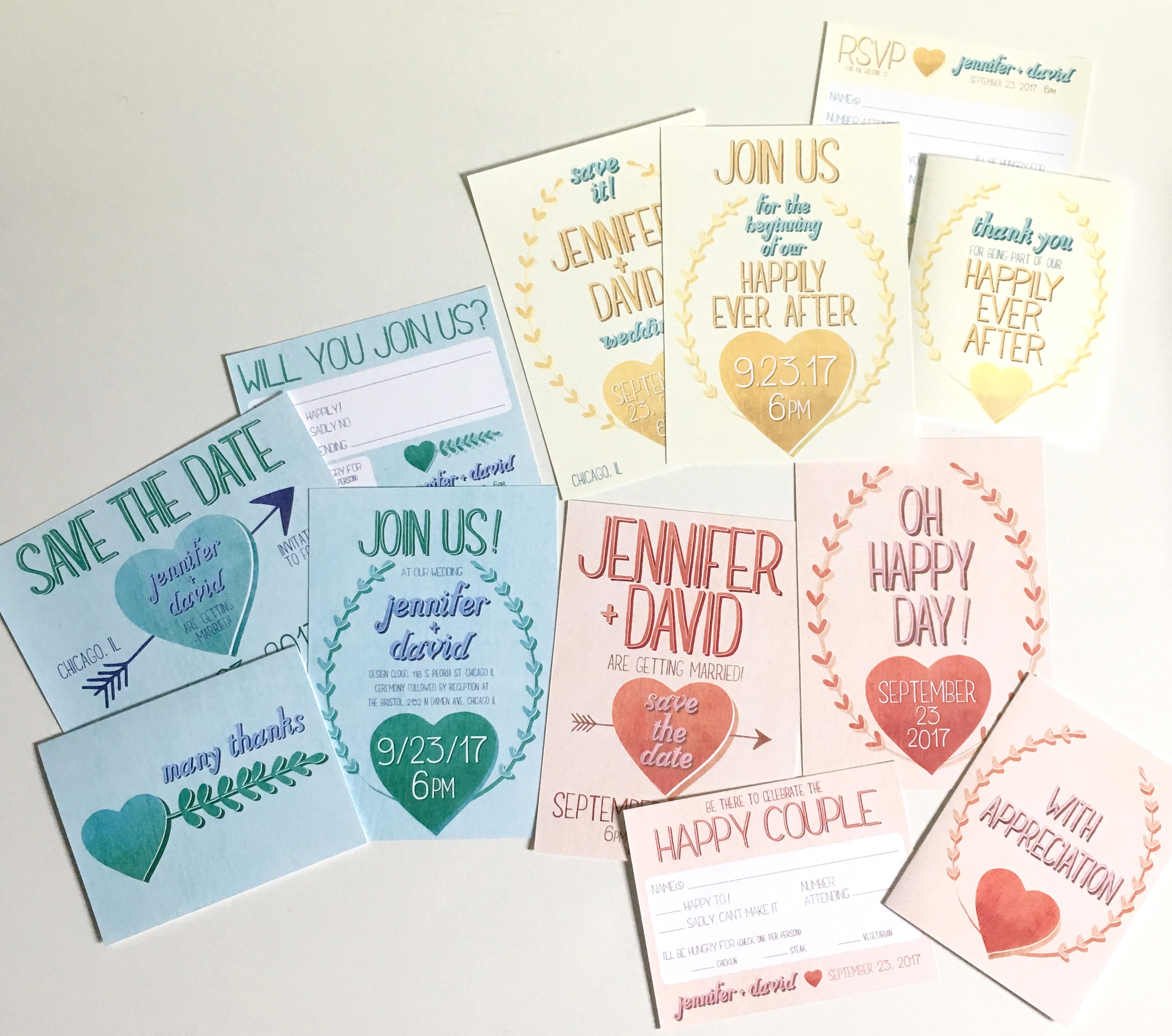 All three wedding invitation suites, inspired by the original print, above.