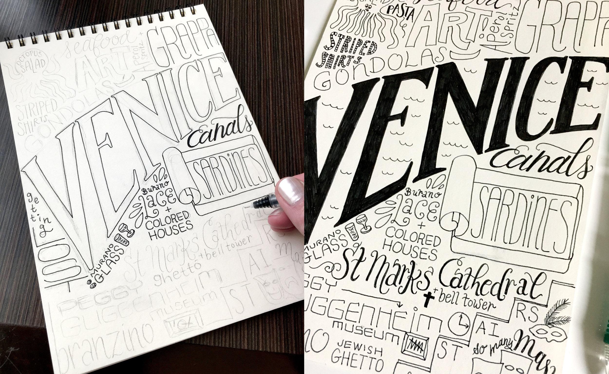 Venice sketches in progress…