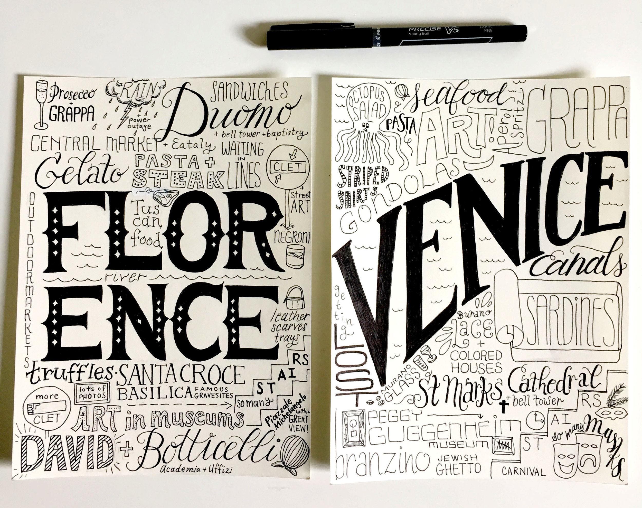 Final inked versions for Florence and Venice.