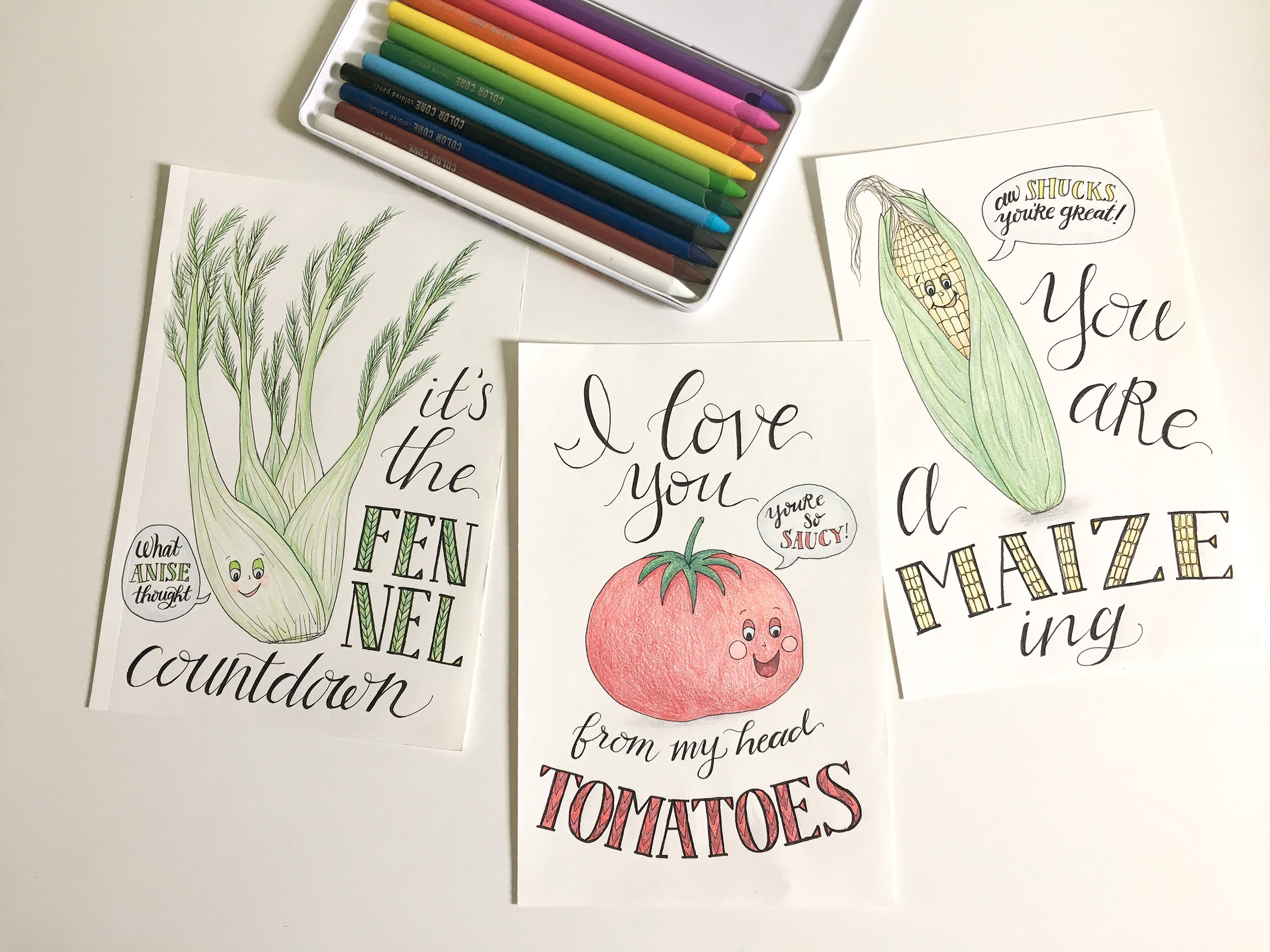 Some completed veggie puns…