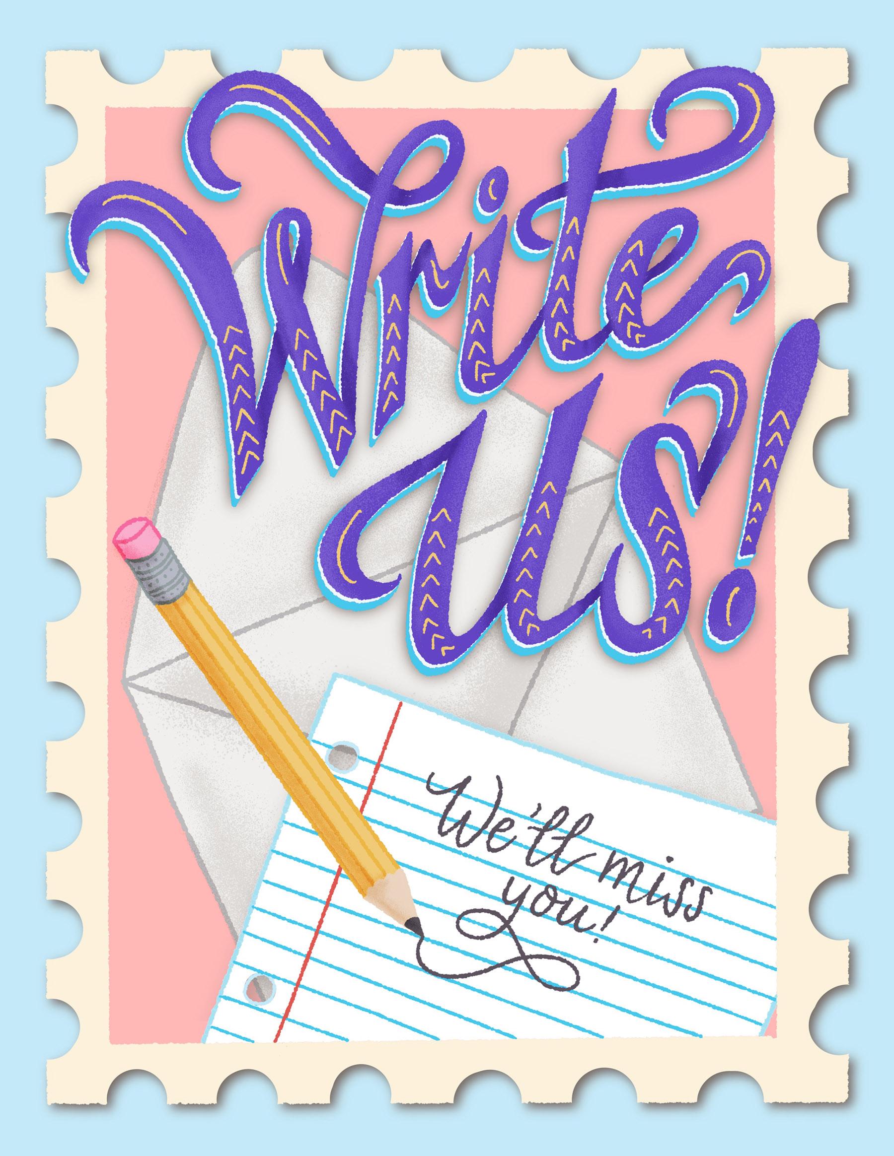 Write Us Moving Insert Lettering Illustration