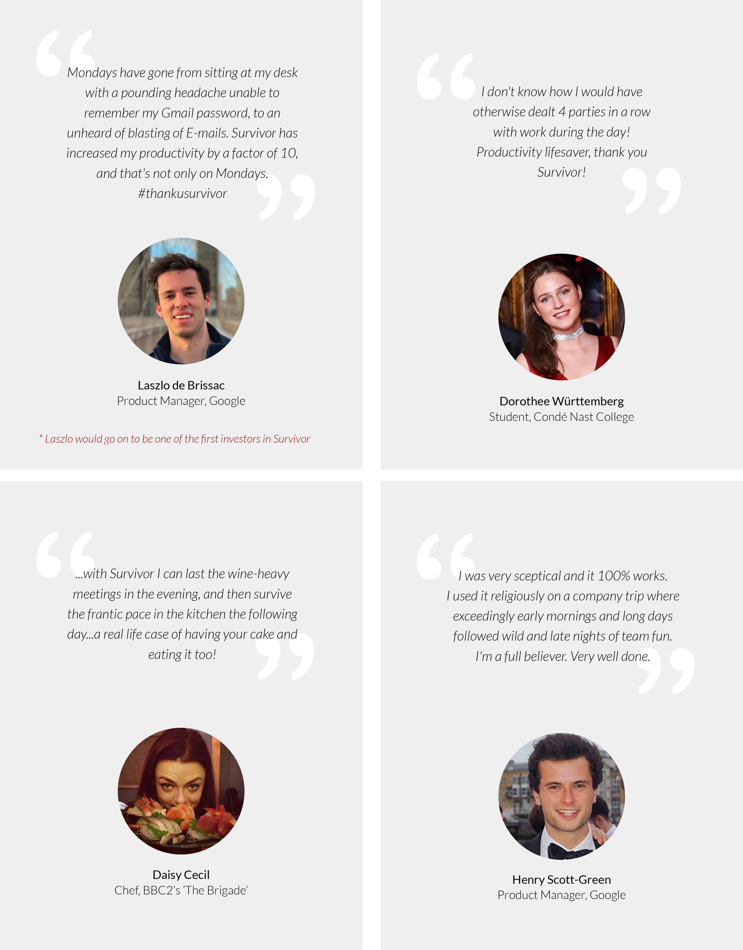 Some quotes and testimonials for the Indiegogo campaign page.