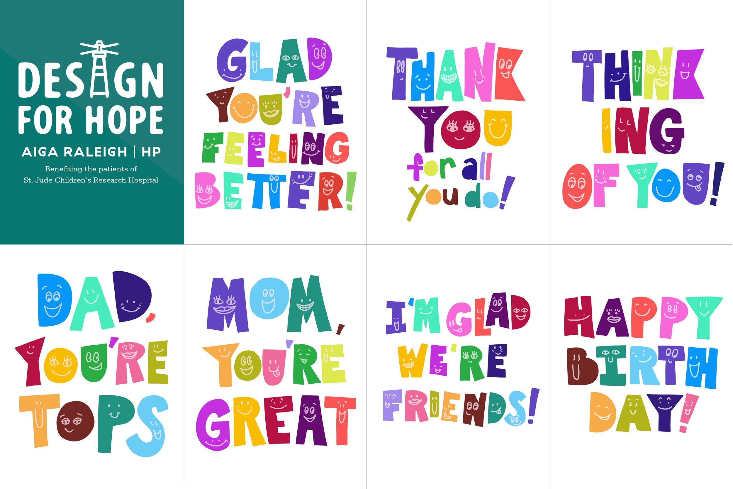 All seven greeting card designs in the set I designed, per the brief and in the spirit of appealing to children.