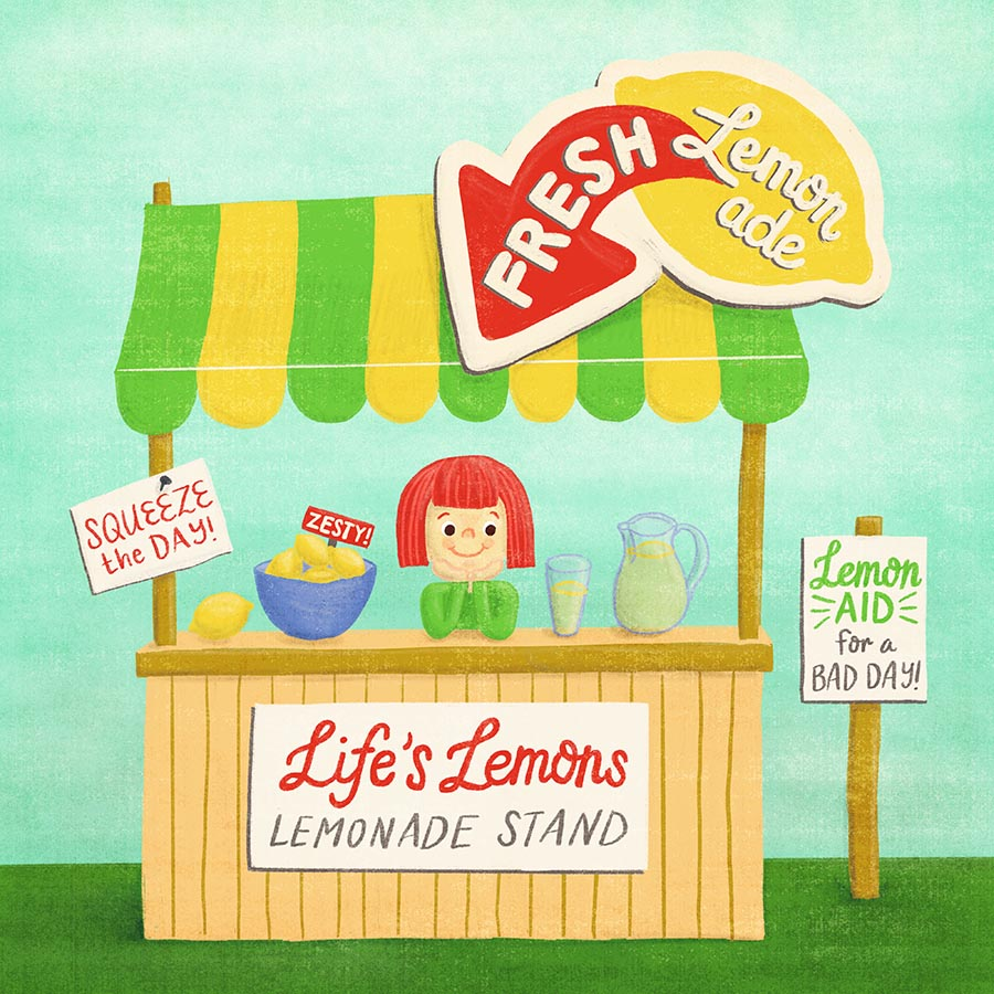 Final illustration of a girl happily selling lemonade at a cute lemonade stand, with lemony puns sprinkled throughout.