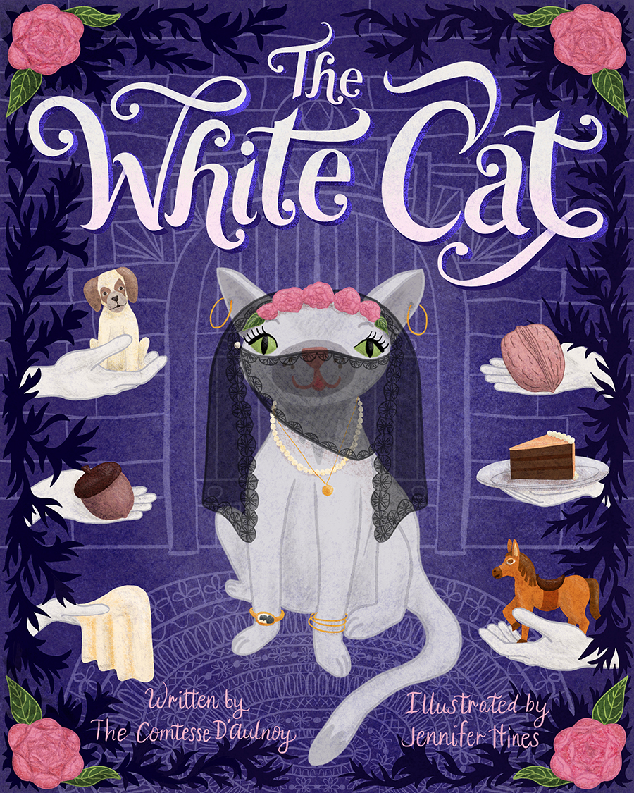 Final illustrated book cover design for the children's book The White Cat, based on a fairy tale.