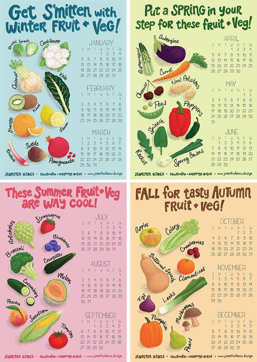 Fruit And Vegetable Illustration Seasonal Food Illustration Jennifer Hines Food Illustrator Lettering Artist Jennifer Hines