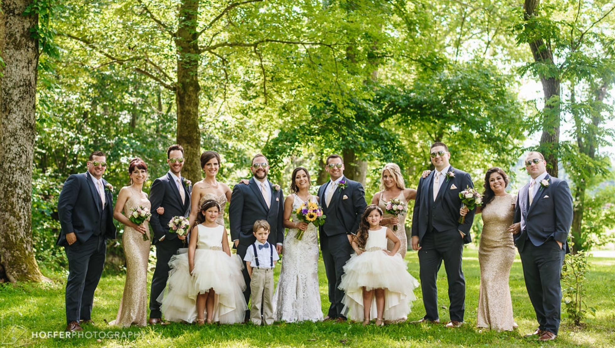 Groom and groomsmen slate blue slim fit tuxedos