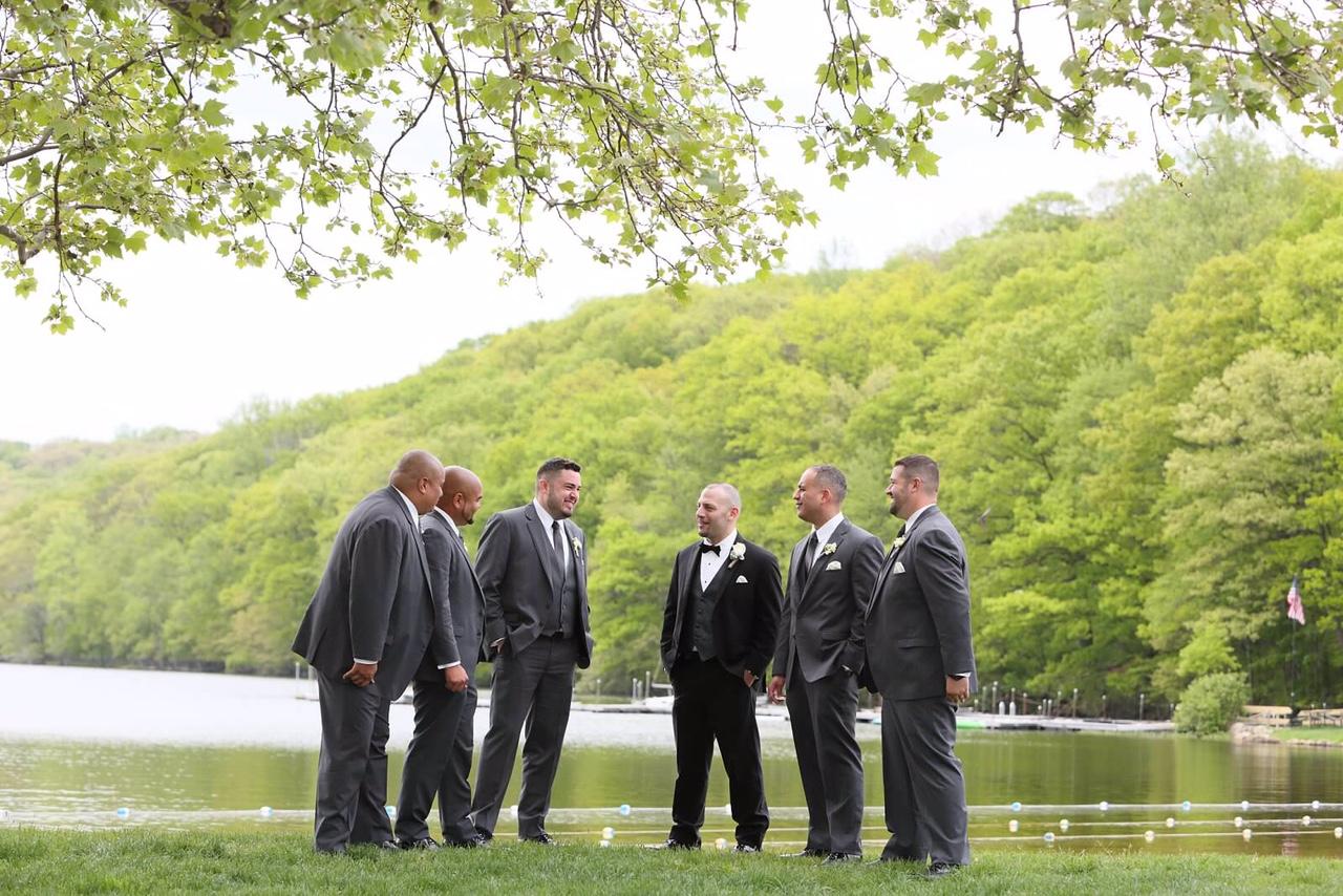 Groom and groomsmen slim fit tuxedos