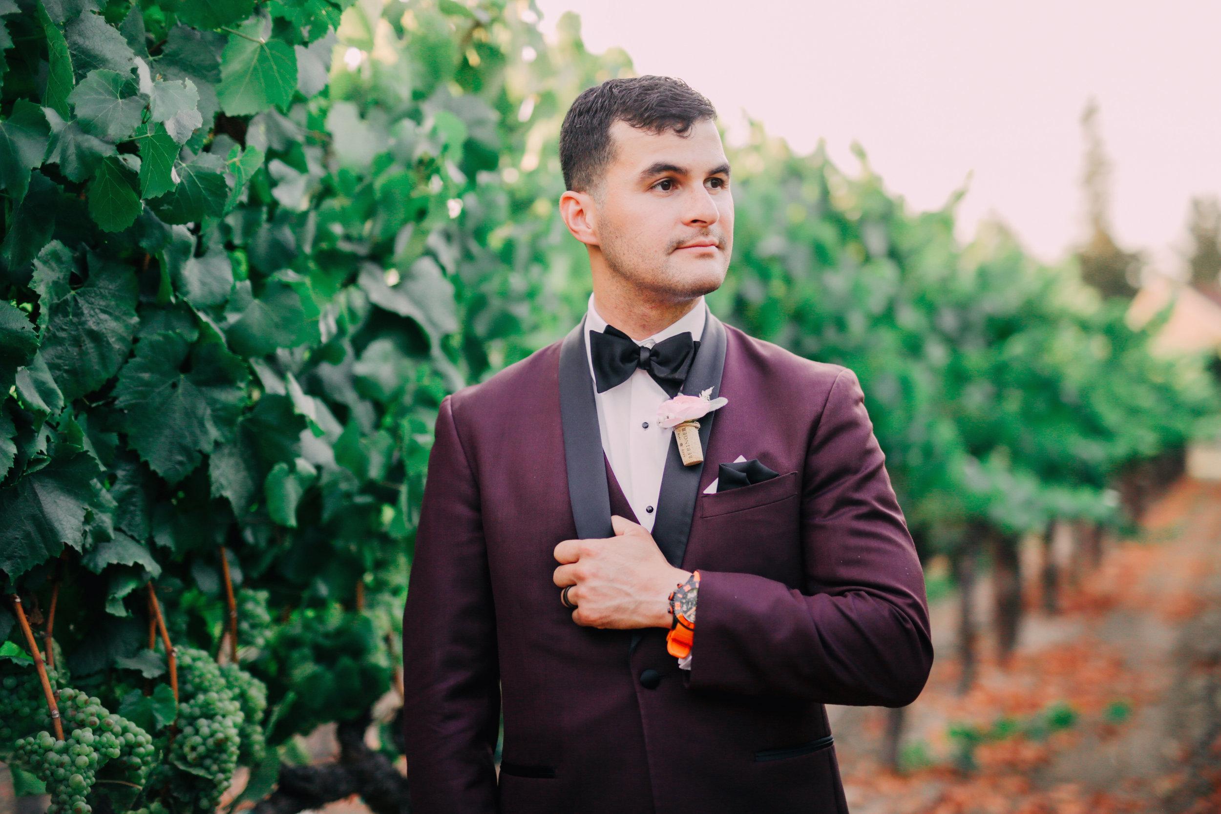 Groom burgundy slim fit tuxedo