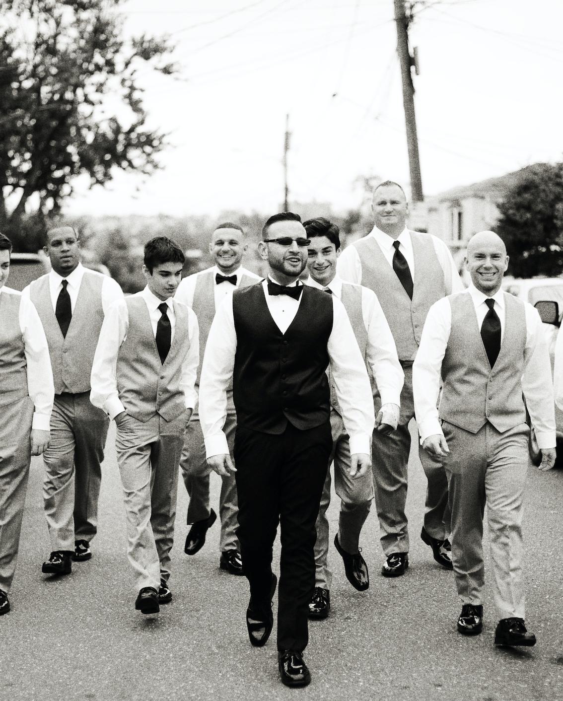 Groom and groomsmen grey slim fit tuxedos