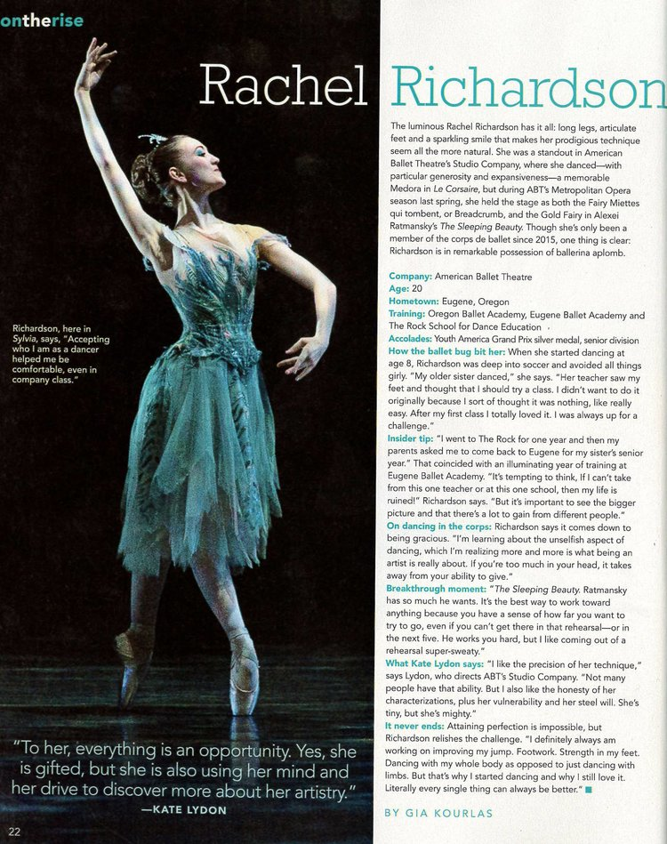 November 1st, 2016 - Congratulations to Rock Alumna,  American Ballet Theatre  corps member, Rachel Richardson for being featured in the November issue of  Dance Magazine  as their -on the rise- artist! Brava