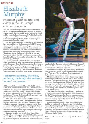 Elizabeth Murphy: Impressing with control and clarity in the PNB corps  Dance Magazine - ontherise - July 2013