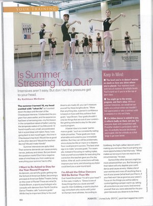 Is Summer Stressing you Out?  Pointe Magazine - June/July 2013