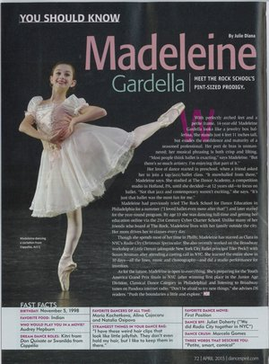 You Should Know: Madeleine Gardella  Dance Spirit Magazine - April 8, 2013
