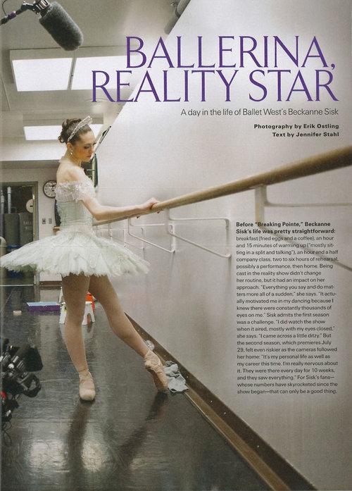 Ballerina, Reality Star  Pointe Magazine - July 2013