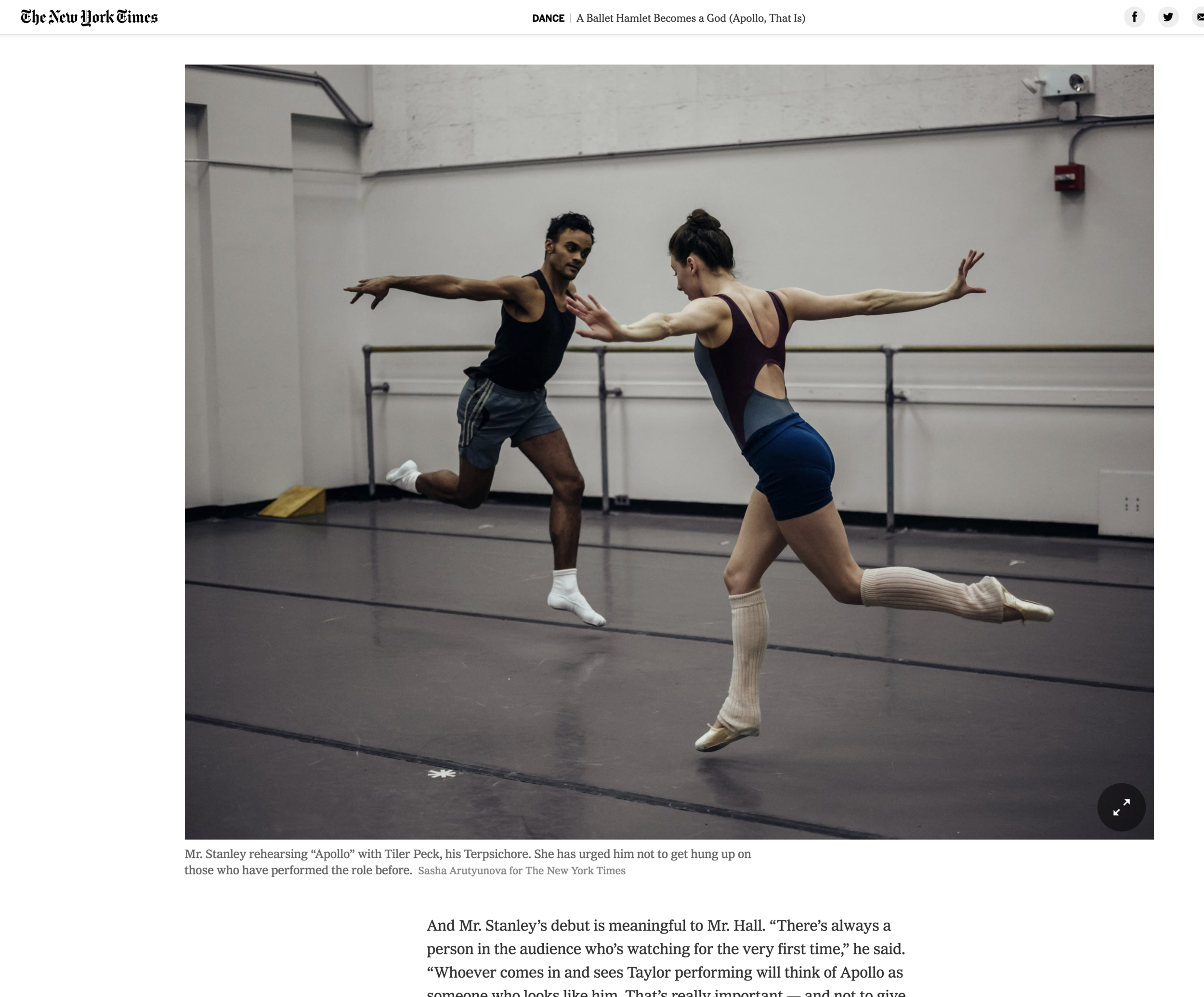 "Rock Alumnus, and  New York City Ballet  Principal Dancer, Taylor Stanley will be performing one of the most difficult and storied male roles, Apollo in Stravinsky and Balanchine's Greek Trilogy Ballet through Feb 2nd. Here is a wonderfully insightful article by  The New York Times  on his journey into the role.  – as he faces the challenge of performing ""Apollo,"" he said he realized something: Maybe all this angst is part of maturing, not just as a dancer but as a person. ""Is the pressure necessary?"" he said. ""Is it unnecessary?"" He paused. He thought. He seemed, as he sometimes does, like a dance-world Hamlet.–  Congratulations and Merde on a fantastic performance this coming week, Taylor Stanley. We are so proud of your achievements."