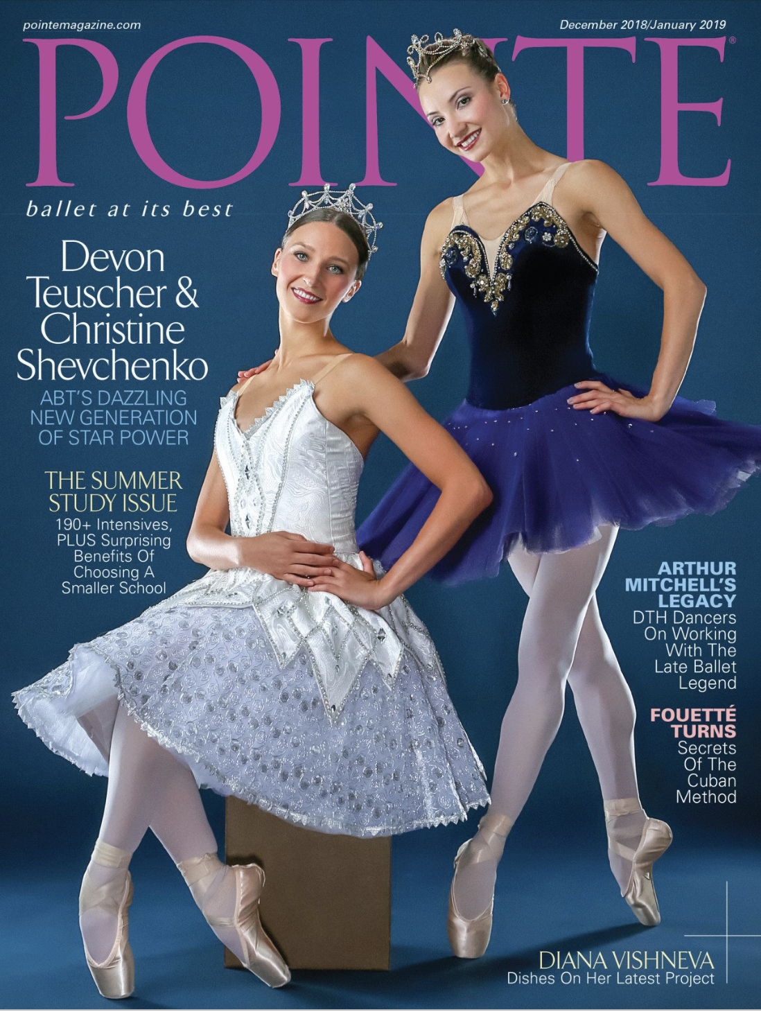 "Rock Alumna, Christine Schevchenko and her DAZZLING Pointe Magazine Cover.  Christine was featured on the November issue of Pointe Magazine alongside fellow American Ballet Theatre dancer, Devon Teuscher as the ""Dazzling New Generation of Star Power"" 💫💫  In the featured article, Christine even shares what she loves most about dancing: ""For me, it's always been about bringing happiness to the people who come to see these stories. It's about making people happy."""